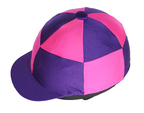 Helmet cover - purple and pink chequers