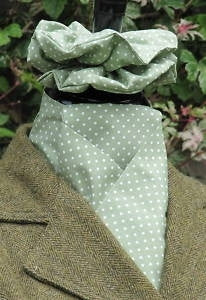 Self-tie stock - two-tone olive/white dot