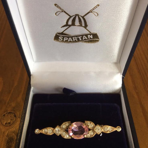 Stockpin - vintage gold with pink stone and diamantes