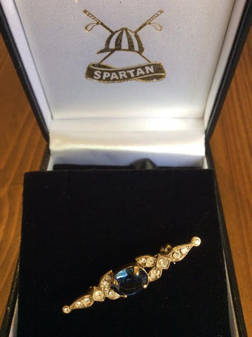 Stockpin - vintage gold with blue stone and diamantes