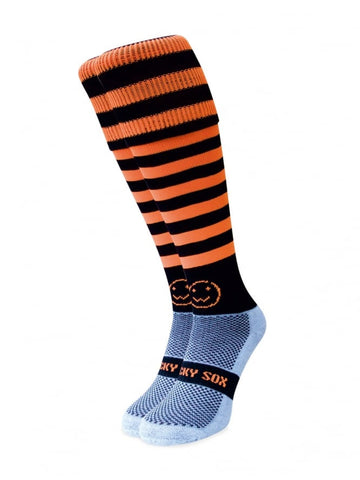 Riding socks - Orange & Black Micro Hoop