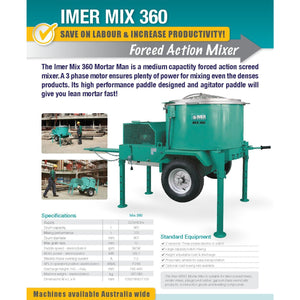 Screed, Render, Rubber, Mortar Mixer Electric Imer M360 Electric (3 Phase) - Pop Concrete Supplies & Training