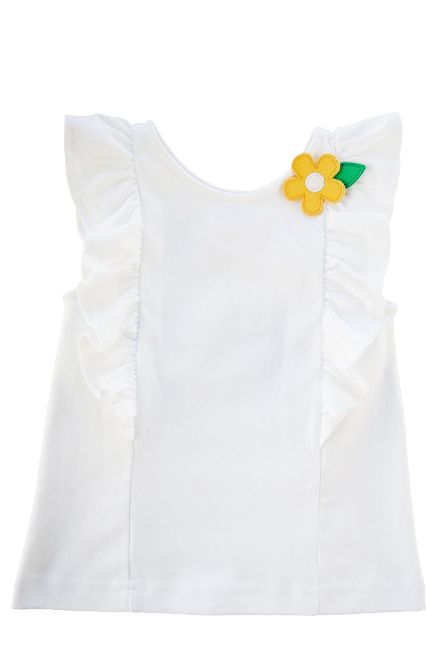 Florence Eiseman knit top with ruffles & flower appliqué