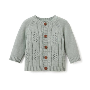 Elegant Baby leaf cable cardigan