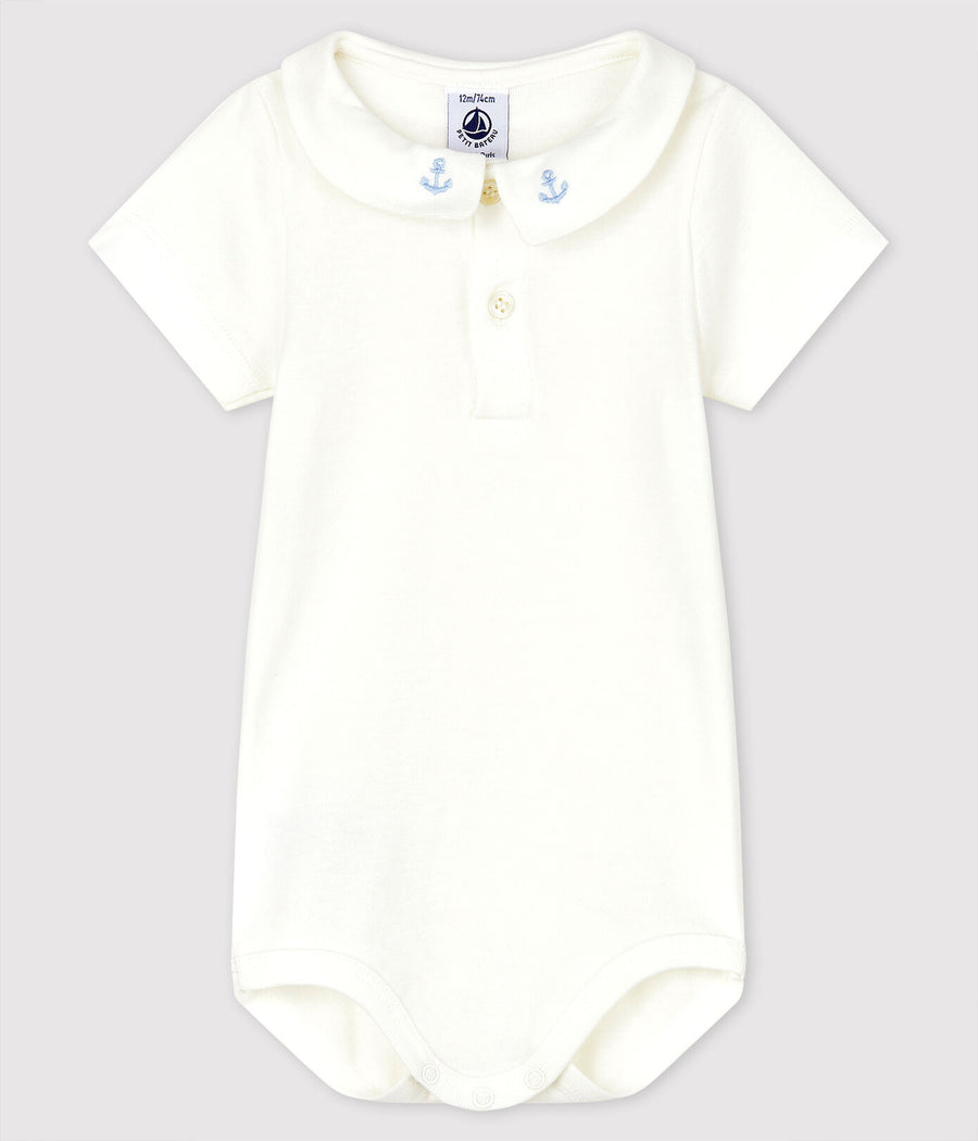 Petit Bateau anchor detail collared onesie