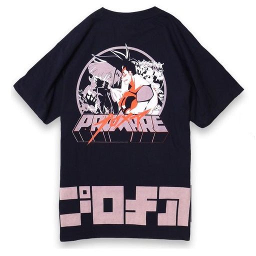 Promare × Hikeshi Tamashi Collaboration Street Wear Navy Blue T-shirt