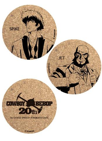 Cowboy Bebop Jet Spike 20th Annivsary Animate Collab Cafe Limited Cork Coasters Set of 3