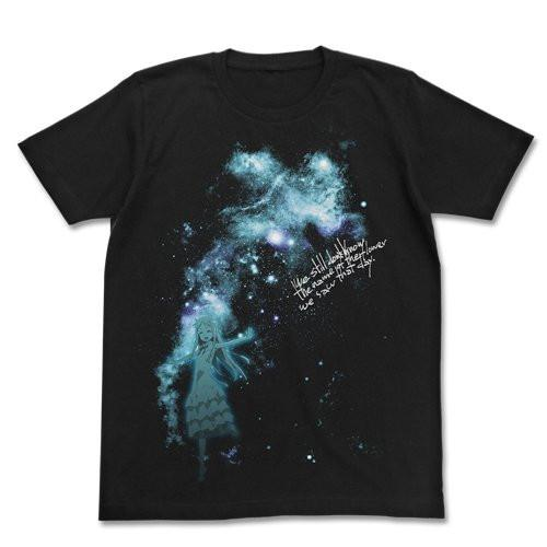 Anohana: The Flower We Saw That Day Night Sky & Menma T-shirt Black Size  XL