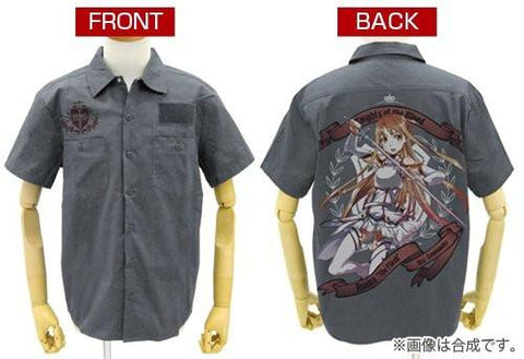 Sword Art Online II Asuna - Cospa Gray Work Shirt - Sizes L / XL Full Color Back SAO