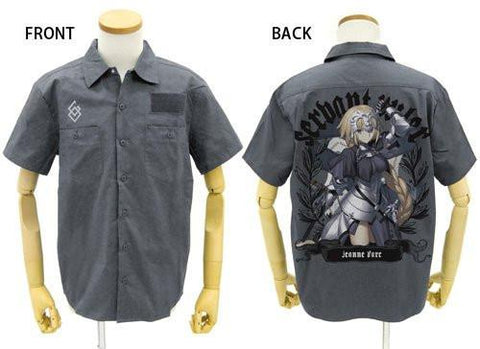 Fate Grand Order - Jeanne d`Arc Ruler - Gray Work Shirt - Sizes L / XL Full Color Back Cospa