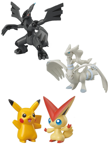 "Pokemon - Reshiram Zekrom Pikachu 3"" Black White - Character Figure Toy Set 3PCS"