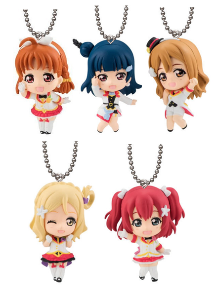 Love Live Sunshine Chika Ruby Yoshiko Mari Hanamaru Mirai Ticket Capsule Mascot Swing Key Chain