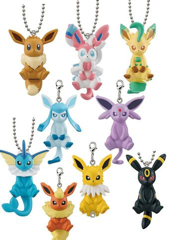 Pokemon Eeveelution Capsule Mascot Swing Key Chain Ball-Chain Connected Together Special Ver.