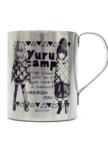 Yuru Camp Nadeshiko & Rin COSPA Character Two Layer Metal Tin Travel Cup Mug
