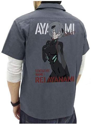 Evangelion Rei Ayanami - Character Gray Work Shirt Cospa
