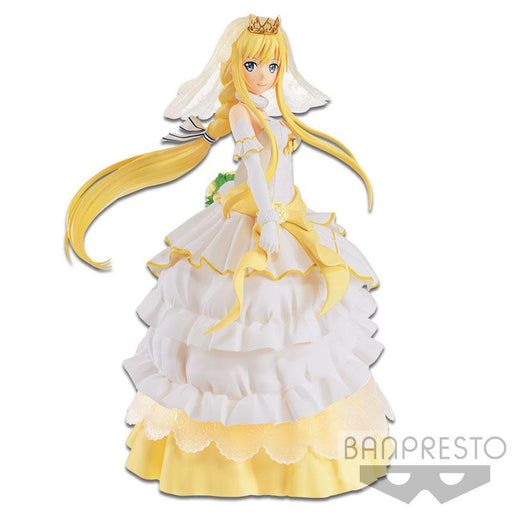 Figure of Alice in white and golden wedding dress.