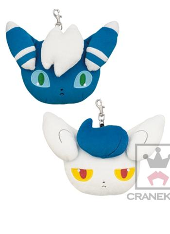 "Pokemon Meowstic Male / Female 4"" Character Retractable Reel Plush Pass Case Pouch"