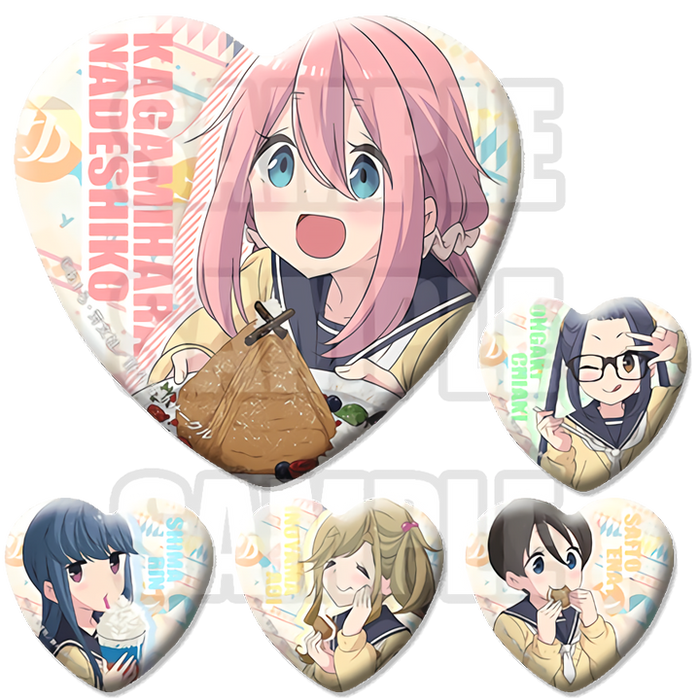 Yuru Camp Collab Cafe Exclusive Character Heart Shaped Can Badge