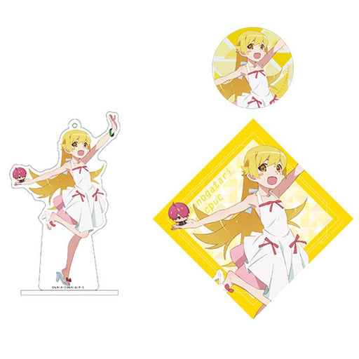 Bakemonogatari Shinobu Oshino AnimeJapan Aniplex Acrylic Stand Key Chain & Can Badge & Sticker *SET*