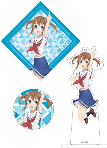High School Fleet Akeno Misaki AnimeJapan Aniplex Acrylic Stand Key Chain & Can Badge & Sticker *SET*