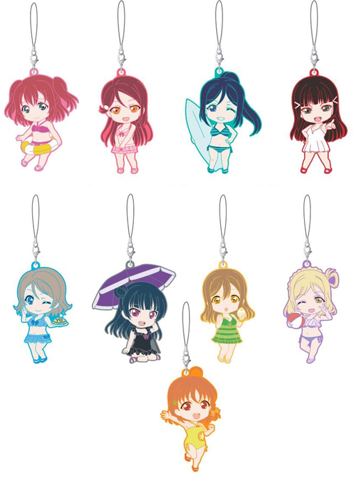 Love Live! Sunshine!! Nendoroid Swimsuit Ver. Rubber Mascot Candy Toy Strap (Case Pack of 9)