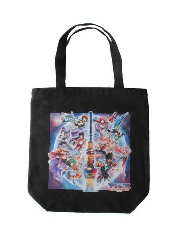 Tokyo Skytree Macross Full Cast Character Tote Shopping Bag Black