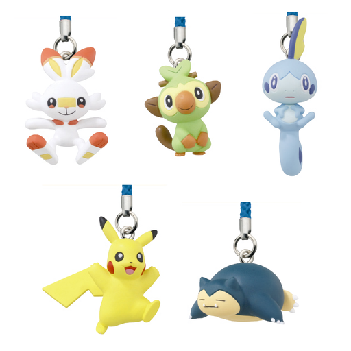 All key chain variants from Pokemon including Scorbunny, Grookey, Sobble, Pikachu and Snorlax