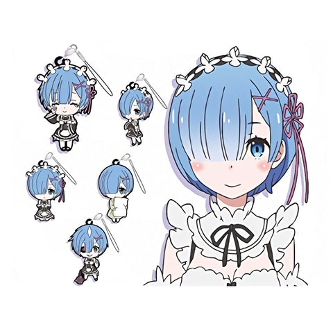 Re:Zero - Rem - Capsule Rubber Phone Straps Set of 5