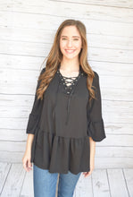 Black Lace Up Blouse
