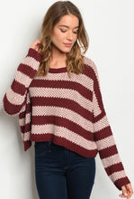 Burgundy Striped Cropped Sweater