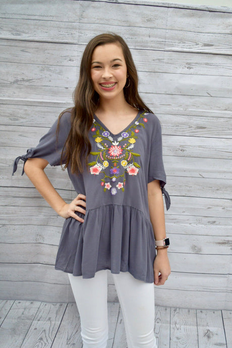 Charcoal Embroidered Blouse