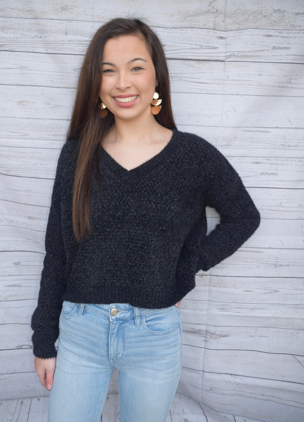 Black Chenille Cropped Sweater