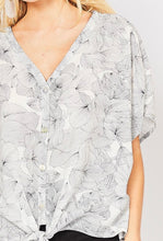 Floral V-Neck Button Down