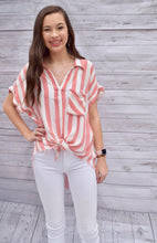 Carrot Striped Button Up