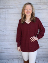 Long Sleeve V-Neck Burgundy Shirt