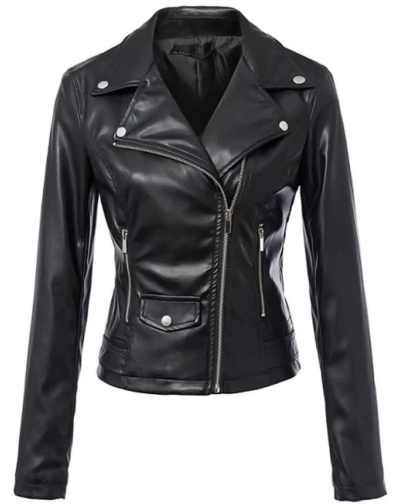 Tanming Women's Fashion Faux Leather Jacket