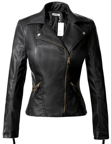 Tanming Women's Classic PU Leather Jacket