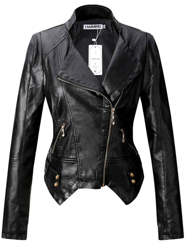 Tanming Women's Sexy Short PU Leather Jacket