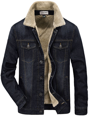 Tanming Men's Winter Casual Denim Jacket