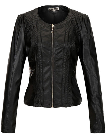 Tanming Women's Slim PU Leather Jacket
