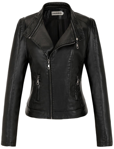 Tanming Women's High Quality Faux Leather Jacket