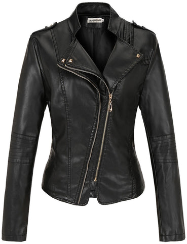 Tanming Women's Sexy Long Sleeve PU Leather Jacket