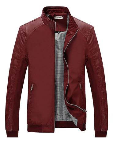 Tanming Men's Color Block Slim Leather Casual Jacket