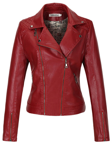 Tanming Women's Fashion Colors Faux Leather Jacket
