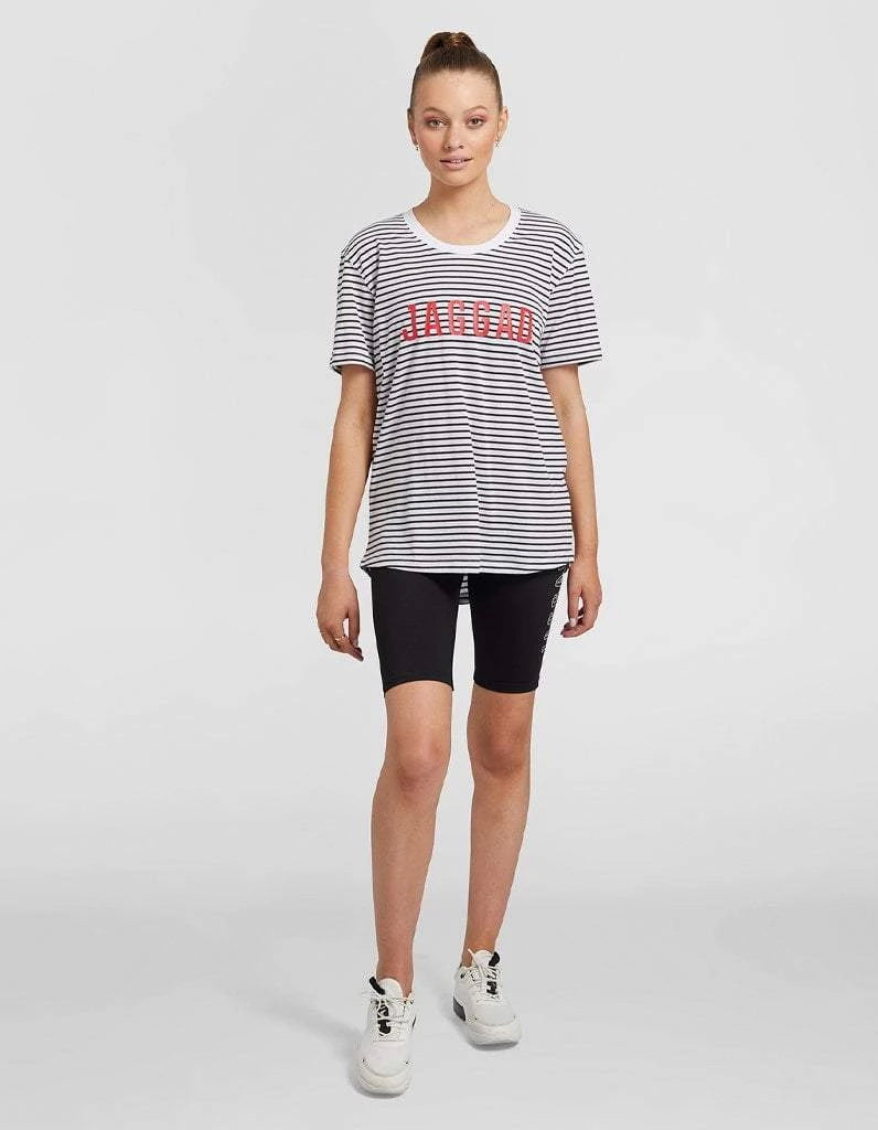 Striped Tee with Red Logo