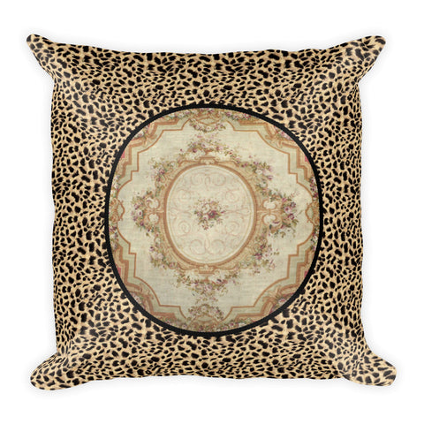 Square Pillow, Aubusson Medallion Leopard
