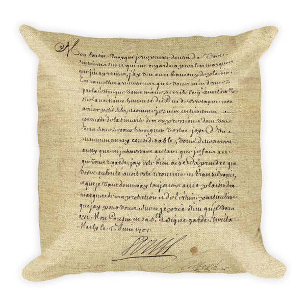Square Pillow, Lettre de Louis XIV