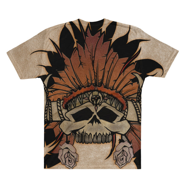 Short Sleeve V-Neck, Indian Skull