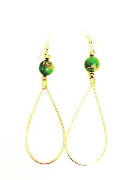 Green Jasper Chakra Tear Drop Hoop Earrings