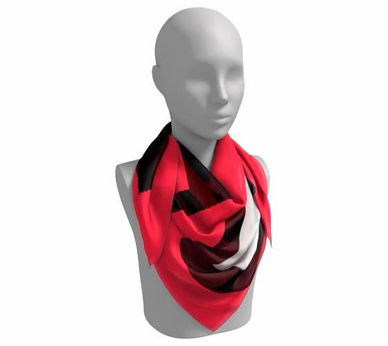 FAB  Strawberry Red Square Scarf